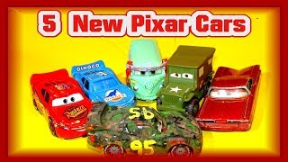 5 New Pixar Cars Lightning McQueen Dinoco McQueen Sarge, Fillmore and Ramone and Camouflage McQueen