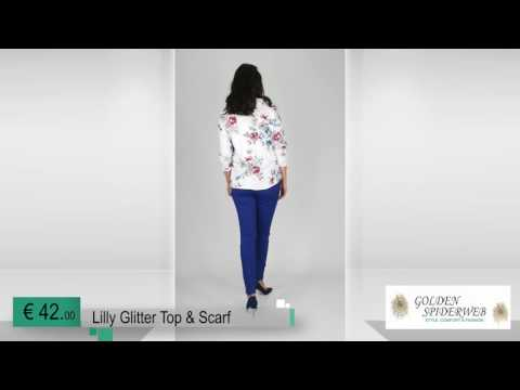 Lilly Glitter Top & Scarf (white)