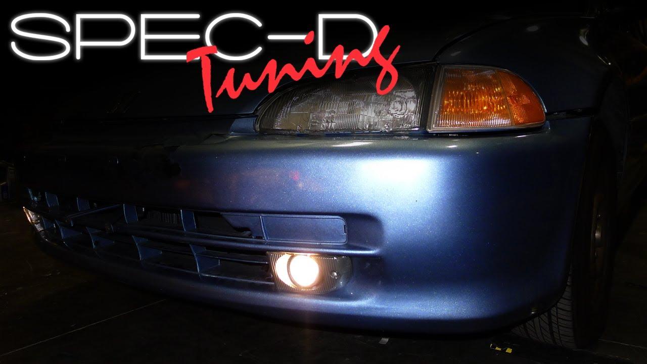 hight resolution of specdtuning installation video 1992 1995 honda civic 4 door fog light kits youtube