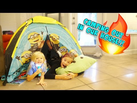 CAMPING OUT IN OUR HOUSE!! (Telling scary stories)