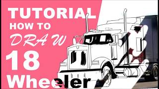 How to draw a 18 wheeler truck easy level