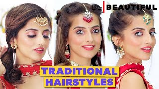 Hairstyle With Maang Tikka | Traditional Hairstyle For Saree/Lehenga | Knot Me Pretty | Be Beautiful