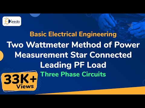 Two Wattmeter Method for Power Measurements of Star Connected Leading PF Load - Three Phase Circuits