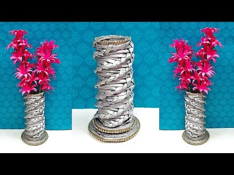 DIY-Flower vase/Flower pot with paper flower stick made from Newspaper | DIY Newspaper Craft idea