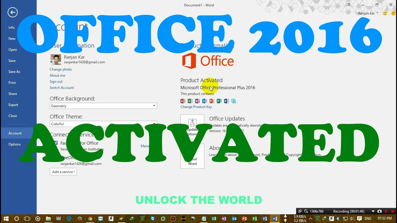 How to activate office 2016 in windows 10 pro build 10240 youtube ccuart Gallery
