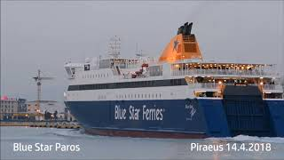 BLUE STAR PAROS evening arrival at Piraeus