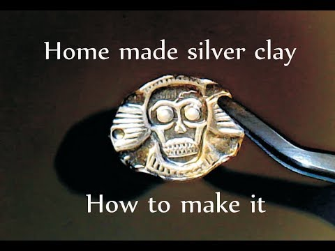 SILVER CLAY made at home.Recipe, ingredients and sculpting a scull pendant.