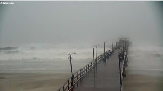 Hurricane Florence produces large waves in Atlantic Beach, NC