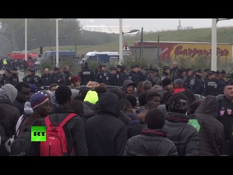 Demolition of Calais refugee camp (Streamed live)