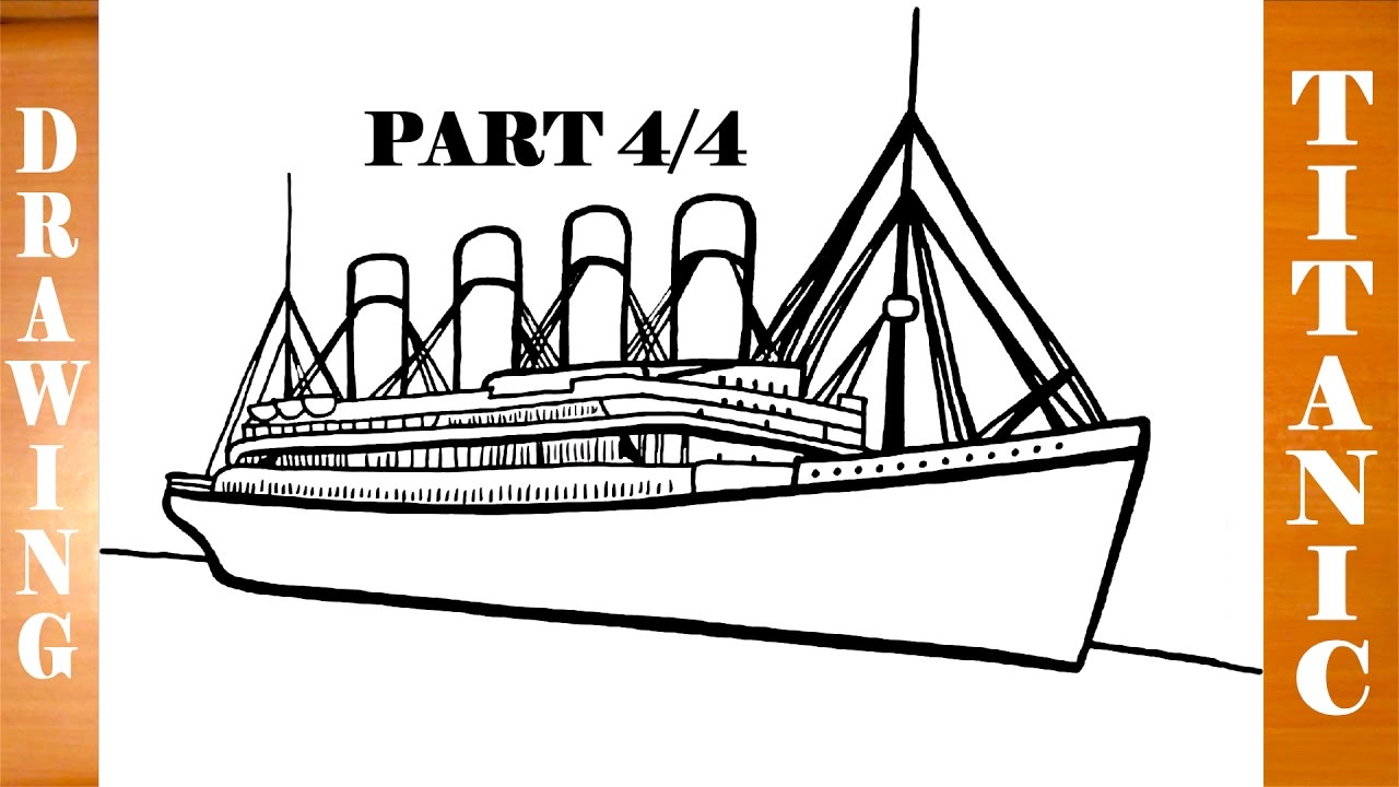 how to draw titanic ship step by step easy for kids in pencil part 44 youtube