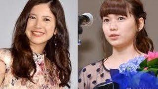 女優の二階堂ふみと吉高由里子が12日、顔を寄せ合った 2ショット写真を...