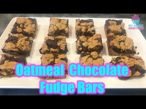 Oatmeal Chocolate Fudge Bars (Revel Bars) - Mysweetambitions