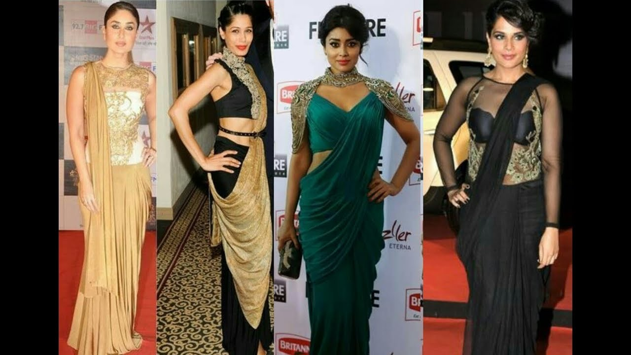 Saree gown designs | Fancy Saree Collection // Fancy Saree with ...