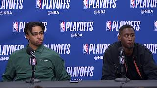 D'Angelo Russell & Caris LeVert Postgame Interview   Nets vs 76ers Game 1