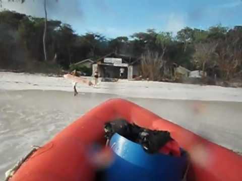 Beaching the boat on Aride Island