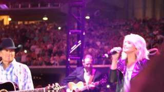 george strait and miranda lambert singing how bout them cowgirls at his final show 6 07 14