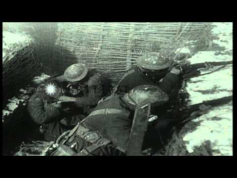 Soldiers affected by gas attack in a dug out in France. HD Stock Footage