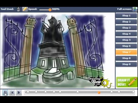 how to draw a haunted house youtube