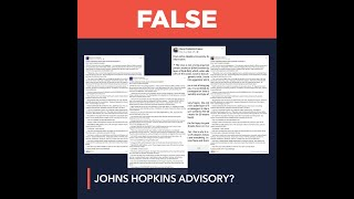 FALSE: COVID-19 advisory from Johns Hopkins University