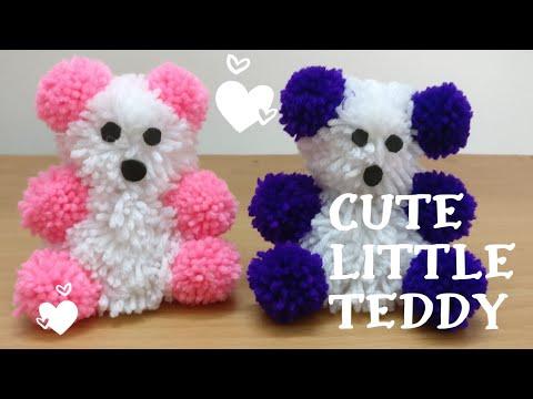 How To Make Pom Pom Teddy Bear With Wool   DIY   Woolen Teddy Bear Making At Home   Woolen Craft