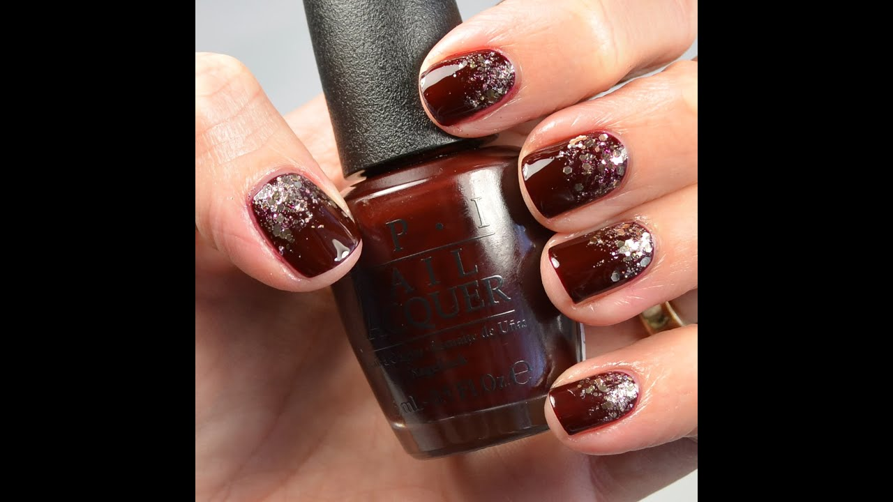 Nail Tutorial: Glitter Gradient (maroon and gold) - YouTube