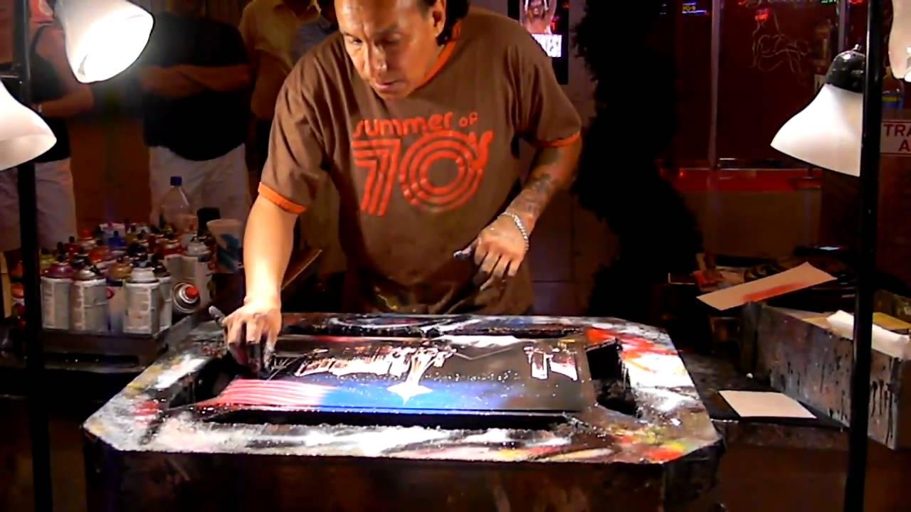 Tony Vegas Spray Painting On Fremont Street - YouTube
