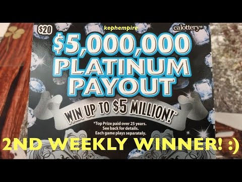 2ND EVER Weekly Scratcher Drawing WINNER!! $5,000,000 Platinum Payout California Lotto Scratchers