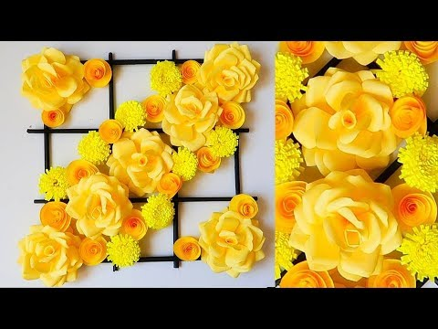 Paper Flower Wall Hanging. Newspaper Craft. DIY Hanging Flower - Wall Decoration ideas 295