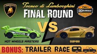 Lamborghini Tournament Finals -  Hot Wheels Trailer Race Diecast Fat Track