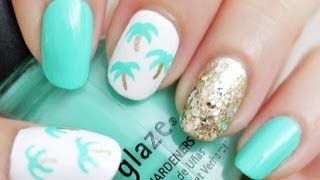 Easy Palm Tree Nail Art (Using a Toothpick!)