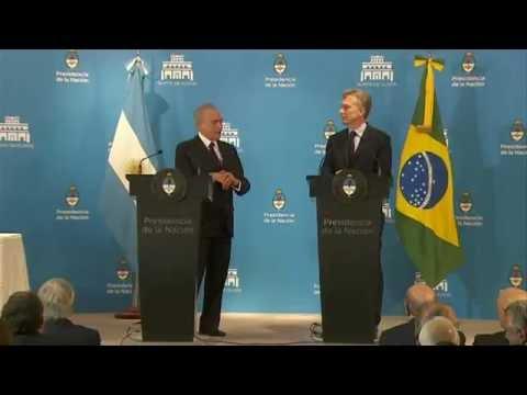 Declaraciones conjuntas de los presidentes Mauricio Macri y Michel Temer