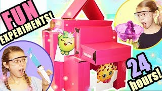 24 Hours STUCK In A Box Fort Mansion With a BLACK SNAKE!!   Huge PINK Box Fort with ELECTRICITY!
