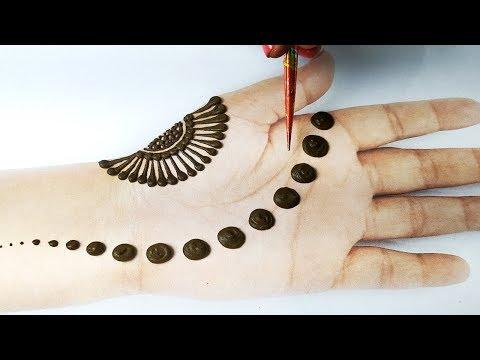 आसान मेहँदी लगाना सीखे - Latest Gol tikki Easy Mehndi Design Front Hand -Simple शेडेड मेहँदी डिज़ाइन
