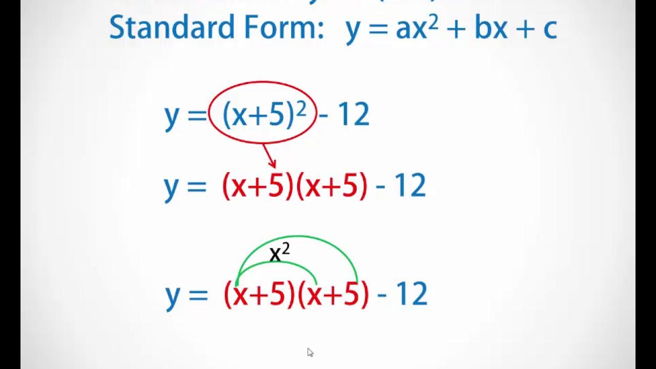 Convert from vertex form to standard quadratic form youtube convert from vertex form to standard quadratic form falaconquin
