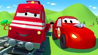 troy the train and the racing car in car city   cars trucks cartoon for children