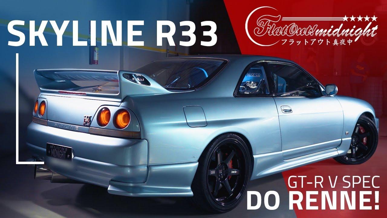 SKYLINE GTR R33 DO RENNE: BURNOUT, ZERINHOS E PUXADA NO DINO! FlatOut  Midnight
