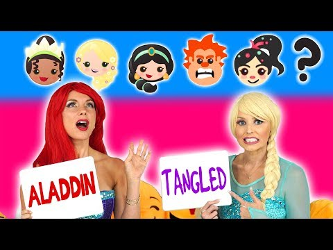 GUESS THE EMOJI MOVIE CHALLENGE ELSA VS ARIEL Is it Tangled or Aladdin? Totally TV