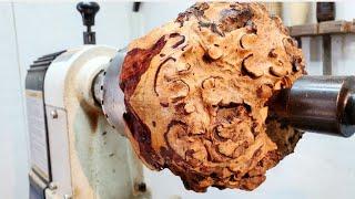 Wood Turning - Red Grain Burl 職人技!木の瘤から壺を作る!