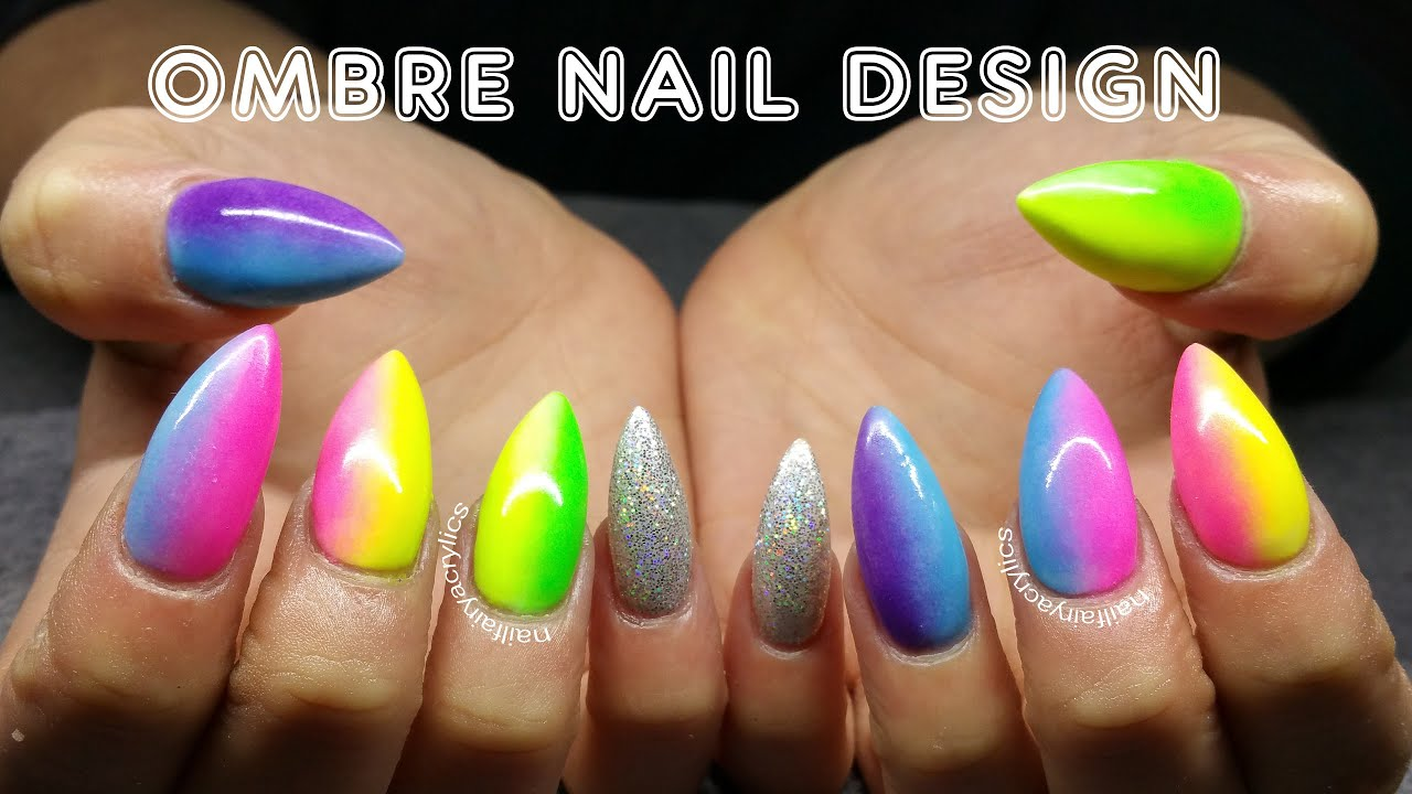 Ombre Acrylics Nail Design Gay Pride Summer Nail Design Youtube
