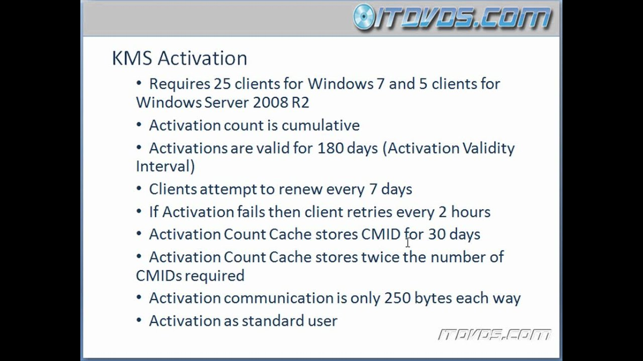 MCTS 70-686 Certification Training - Windows 7 Activation Using a Key  Management Service - KMS