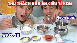 THỬ THÁCH NẤU ĂN BẰNG BỘ ĐỒ CHƠI NẤU ĂN MINI SIÊU TÍ HON VÀ CÁI KẾT (Mini Cooking Toys)
