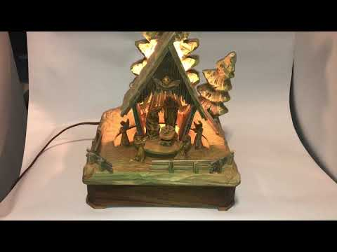 Vintage Anri Carved Wood Nativity Music Box