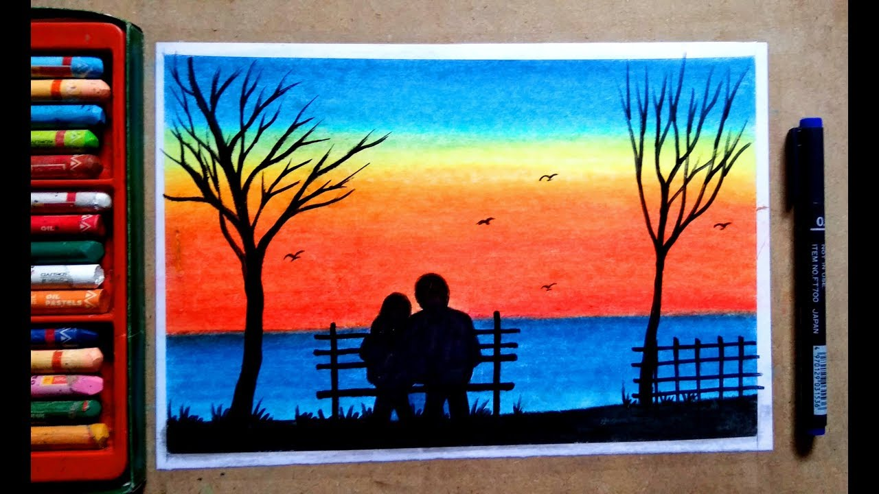 Sunset With Dream Colourful Sinary 4 By Oil Pastel Colour Painting