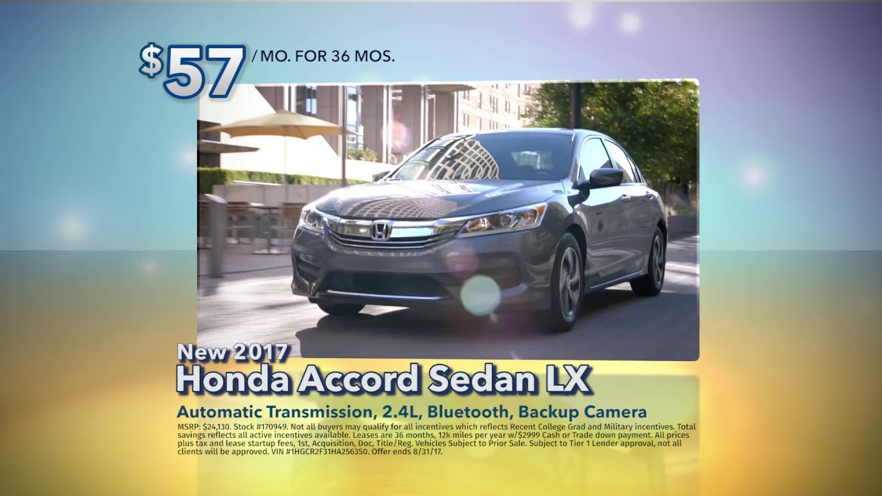 Colonial Honda Of Dartmouth Accord Lease Special August