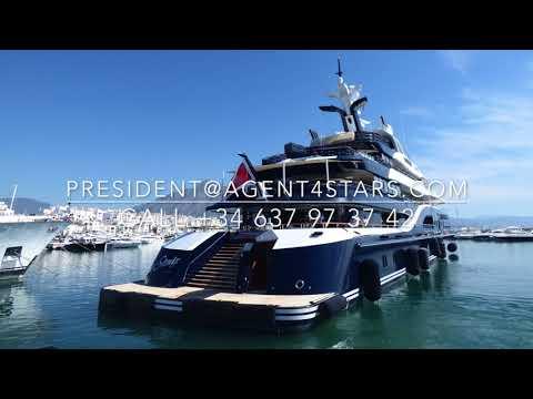 SOLANDGE 85m Royal Saudi Yacht leaves Puerto Banus reversing