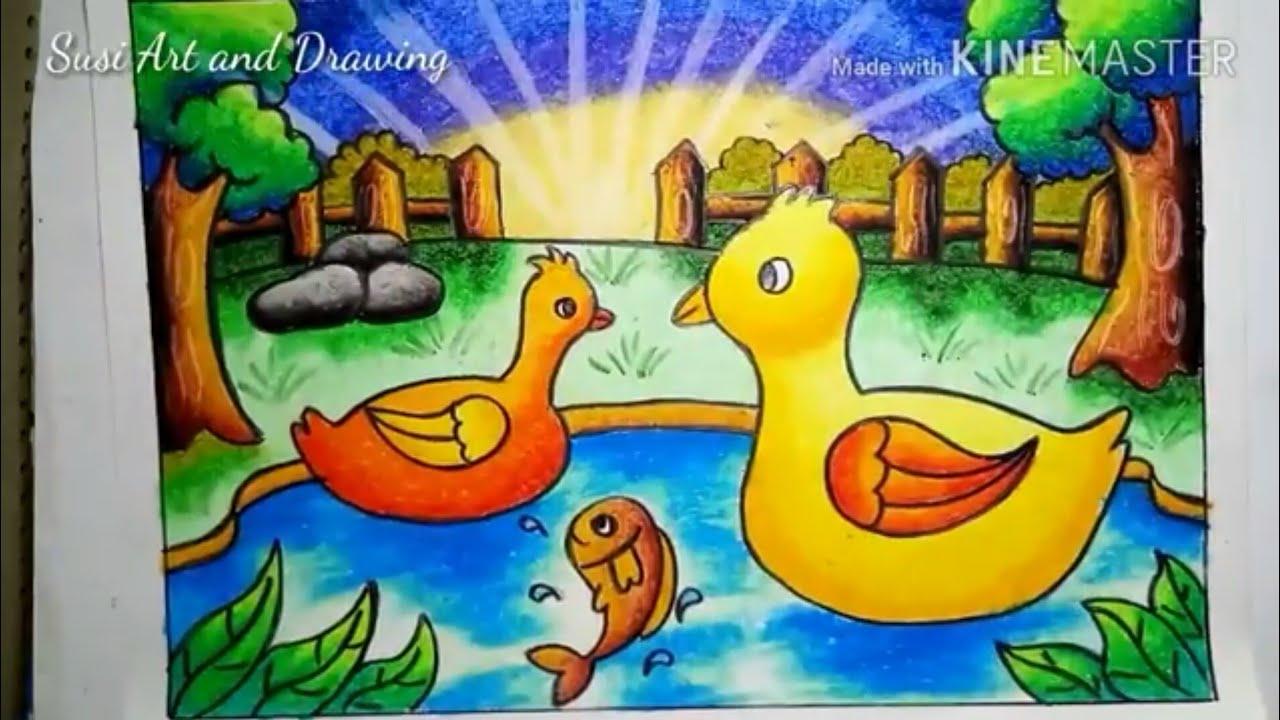 Mewarnai Dan Menggambar Bebek Di Kolam Dengan Cara Gradasi Menggunakan Crayon