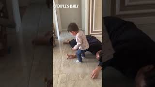 Boy reacts Daddy crumbles on the floor LOL