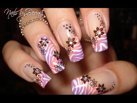 Tropical Ombre Zebra Print And Angled Flower French Tips Nail Art Design Tutorial Youtube