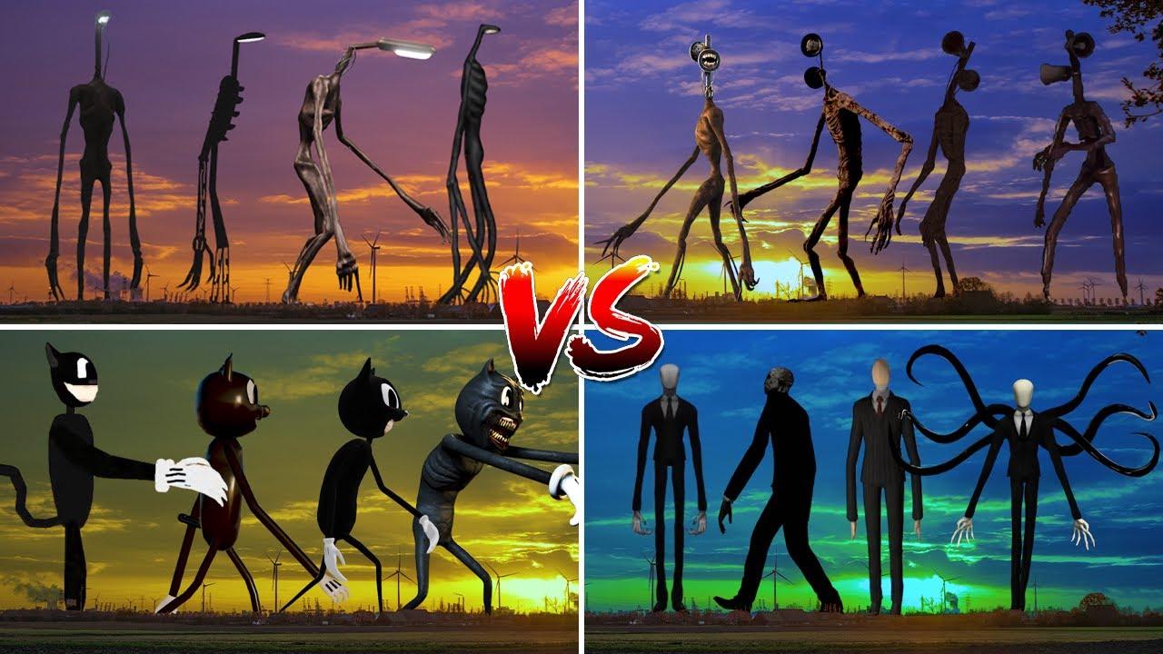Siren Head ARMY VS Light Head ARMY VS Cartoon Cat ARMY VS Slenderman ARMY