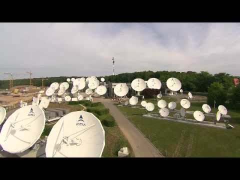 Antenna Park and dish farm at SES headquarters in Luxembourg (footage)